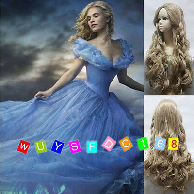 New Movie Cinderella Princess Long Flaxen Curly Wavy Braid Wig Cosplay Hair Wig • 7.88£