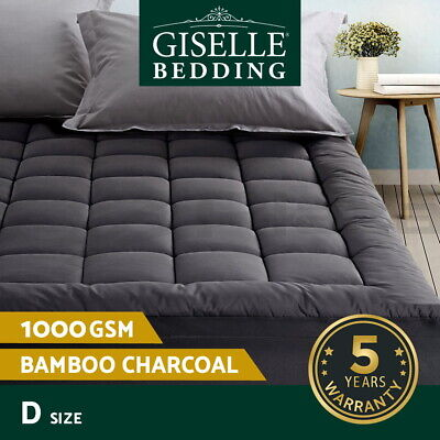 AU67.95 • Buy Giselle Bedding Bamboo Charcoal Pillowtop Mattress Topper Protector Cover Double