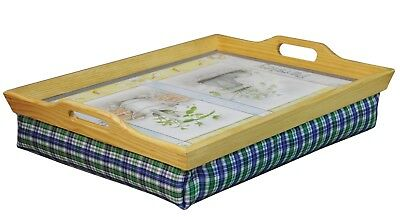 STH Wooden Breakfast, Food, Laptop Table Lap Tray With Cushion Bean Bag - Herbs • 14.99£