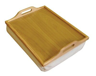 STH Wooden Breakfast, Food, Serving Laptop Table Lap Tray With Cushion Bean Bag • 14.99£