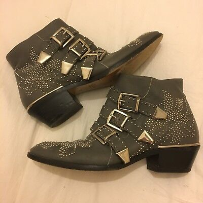 £370 • Buy Chloe Susanna Ankle Boots, Size 37, Grey With Silver Studs