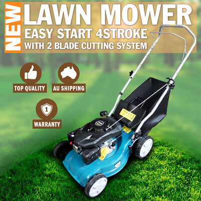 AU270 • Buy New Lawn Mower 16  Petrol Powered Hand Push Engine Lawnmower 50 Litre Catcher