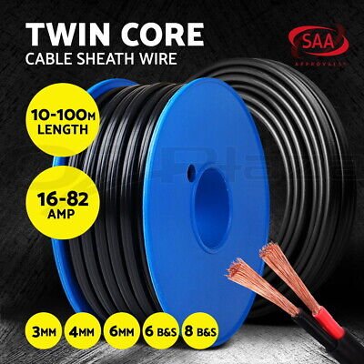 AU50.90 • Buy Electrical Cable Electric Twin Core Wire Extension 2.5/3/4/6/13MM 2 Sheath 450V