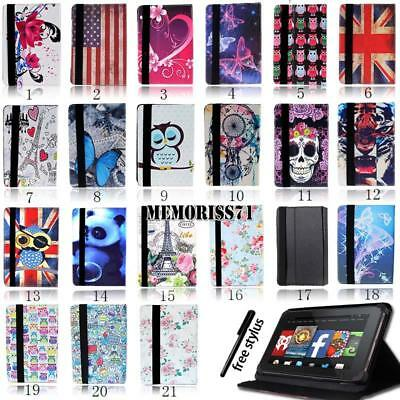 FOLIO LEATHER STAND CASE COVER For Amazon Kindle Fire 7  /HD 8 / HD 10  + Stylus • 4.99£