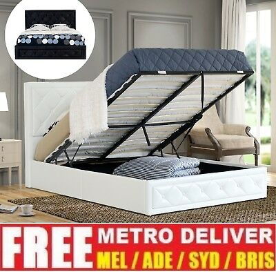 AU295 • Buy Sephora Gas Lift Double Queen King Size Black White Pu Leather Storage Bed Frame