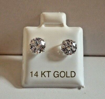 $118.22 • Buy 1 Cts Round Flawless Man Made Diamond Stud Earrings 14k Solid White Gold