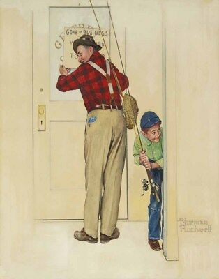 $ CDN46.02 • Buy Norman Rockwell Boy And Shopkeeper Gone On Business Canvas Print 16 X 20  #3488
