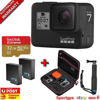AU599 • Buy GoPro HERO7 BLACK PLATINUM BUNDLE SANDISK 32GB,1 EXTRA GoPro BATTERY,POLE, CASE