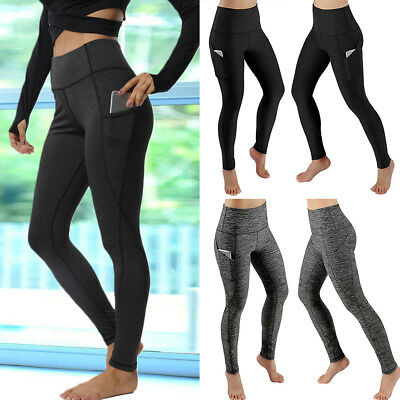 AU14.99 • Buy Women High Waisted Yoga Pants Pocket Leggings Sports Running Stretch Trousers G1