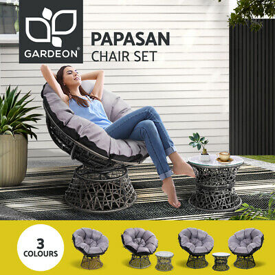 AU298.95 • Buy Gardeon Outdoor Lounge Setting Furniture Papasan Chairs Table Wicker Sofa Chair
