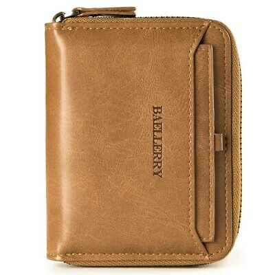 $9.99 • Buy Men's Leather Bifold Credit ID Card Holder Wallet With Zipper Coin Pocket Purse