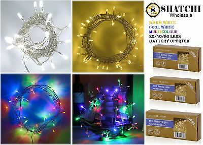 £3.69 • Buy 20 40 80 LED Fairy Lights Battery Operated Christmas Wedding Party Decorations