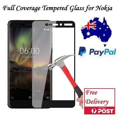 AU8.50 • Buy Full Coverage Tempered Glass Screen Protector For Nokia 6 2018 6.1/ Nokia 7 Plus