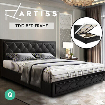 AU379 • Buy Artiss Bed Frame Queen Size Gas Lift Base With Storage Mattress Leather