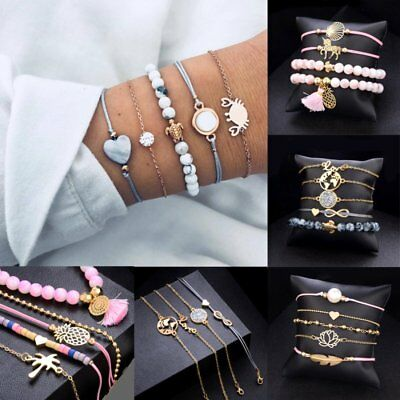 $1.27 • Buy Fashion Women Jewelry Set Rope Natural Stone Crystal Chain Alloy Bracelets Gift