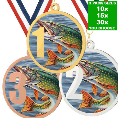 £49.50 • Buy METAL PRINTED FISHING 1,2 Or 3 MEDAL 55mm, PACK OF 10 WITH RIBBONS, 3 COLOURS