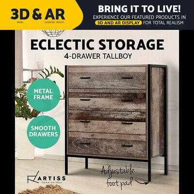 AU146.90 • Buy Artiss 4 Chest Of Drawers Tallboy Bedroom Dresser Table Storage Cabinet Wooden