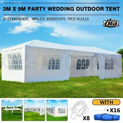AU154.95 • Buy OGL 3x9M Party Wedding Tent Canopy Gazebo Marquee Outdoor Camping BBQ W/7 Walls