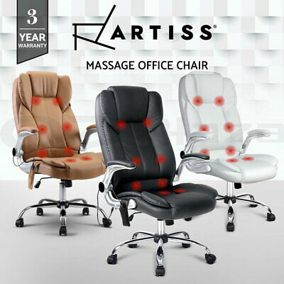 AU269 • Buy Artiss Massage Office Chair 8 Point Computer Chairs Gaming Chair Armrests