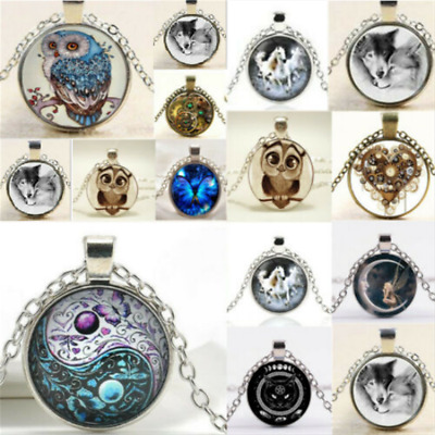 AU1.09 • Buy Handmade Statement Jewelry Necklace Cabochon Glass Silver Chain Pendant Gift