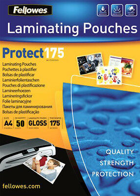 50 X Fellowes Laminating Pouches/ Sleeves A4 EXTRA THICK 175 Microns Gloss • 3.95£