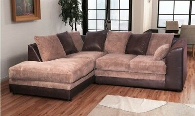 £379 • Buy ** BRAND NEW** Modern Brown Coffee Fabric Corner Sofa Cheap LEFT & RIGHT 3 AND 2