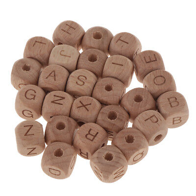 £5.57 • Buy 26pcs Wooden Alphabet Letter Numbers Spacer Beads For DIY Jewelry Making