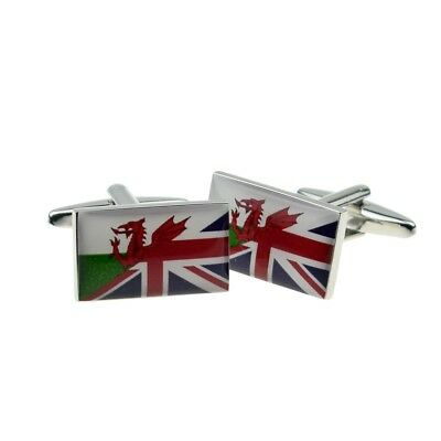 £5.99 • Buy High Quality Union Jack Mixed With Welsh Flag Cufflinks