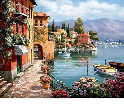 $ CDN13.15 • Buy Old Town River Nature Full Drill Square 5D DIY Diamond Painting Hand Embroidery