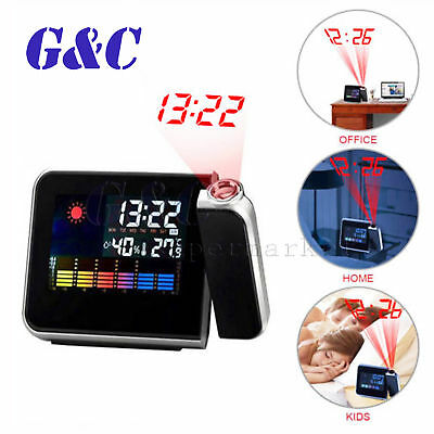 AU12.65 • Buy Digital LCD Time Projector Snooze Alarm Clock Temperature Weather Humidity
