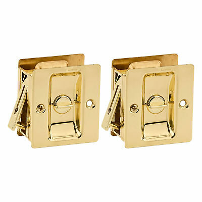 $ CDN12.09 • Buy Kwikset Notch Hall 1.375 Inch Sliding Door Pocket Lock, Polished Brass (2 Pack)