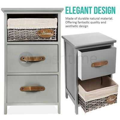 Bedside Table Unit Cabinet Wicker Basket Nightstand 2/3 Drawer Storage Bathroom  • 254.95£
