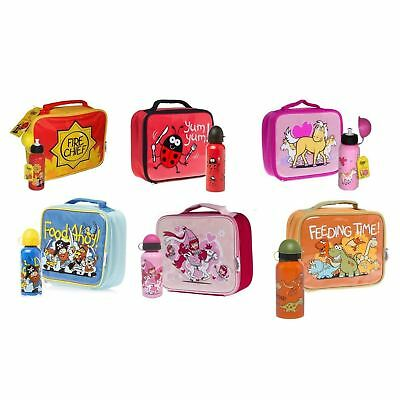 Promo Bugzz Childrens Lunch Bag & Drinks Bottle Girls Boys Fun Food Box Kids Set • 9.99£
