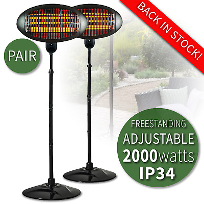 2kW Patio Heater Garden Free Standing Electric Halogen Garden Warmer IP34 (PAIR) • 149.99£