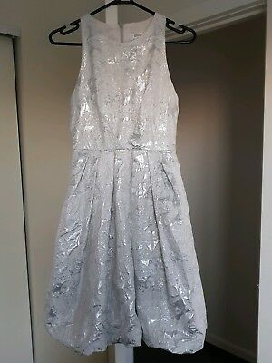 AU229 • Buy Carla Zampatti Silver / White Bubble Dress Size 6