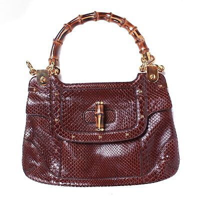 89fb045d873e6d Gucci Python Bamboo Handle Shoulder Bag Gold Studs Red Maroon Snakeskin  Leather • 599.00$