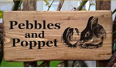 £19.98 • Buy Personalised Rabbit Guinea Pig Sign Plate Gate Hutch Run Plaque Bunny Own Name.