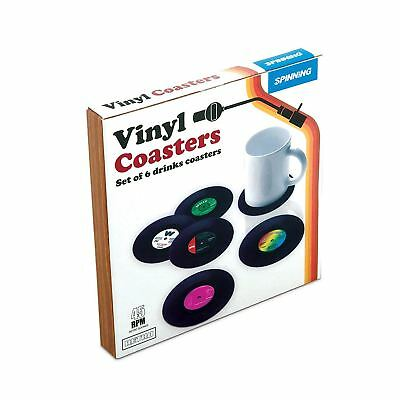 Gift Republic Set Of 6 Retro Vinyl Drinks Coasters Vintage Record Novelty Gift • 10.49£