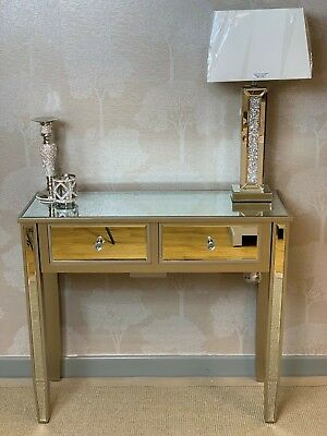 Georgia Champagne Gold Trim Mirrored Glass 2 Drawer Console Hall Dressing Table • 144.95£