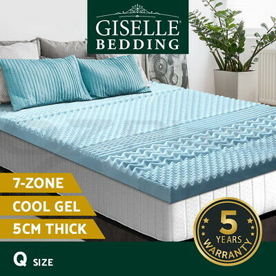 AU82.95 • Buy Giselle Bedding COOL GEL Memory Foam Mattress Topper BAMBOO 5CM 7-Zone Queen