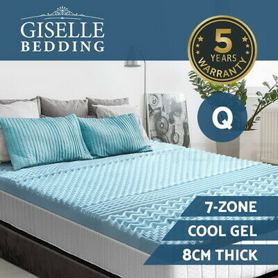 AU129.95 • Buy Giselle Bedding COOL GEL Memory Foam Mattress Topper BAMBOO 8CM 7-Zone Queen