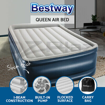 AU73.90 • Buy Bestway Air Bed Beds Queen Size Mattress 56cm Premium Inflatable Built-in Pump