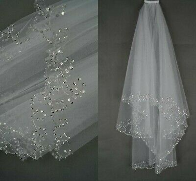Bridal Veil White Ivory Short Wedding Veil With Crystal Edge With Comb Bead New • 16.99£