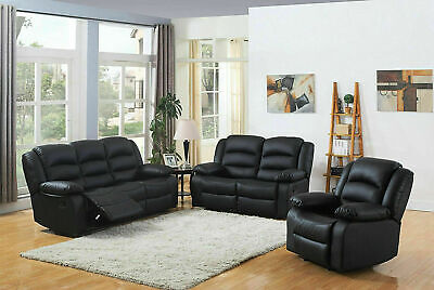 £390 • Buy 3+2+1 Recliner Sofa Leather Bonded Reclining Lazyboy Sofa Suite Pc Sofas