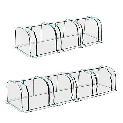 Long Tunnel Greenhouse Transparent PVC Plant Grow House Steel Frame • 33.99£