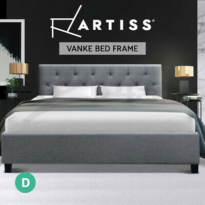 AU85.95 • Buy Artiss Bed Frame Double Size Mattress Base Wooden Tufted Head Fabric Grey VANKE