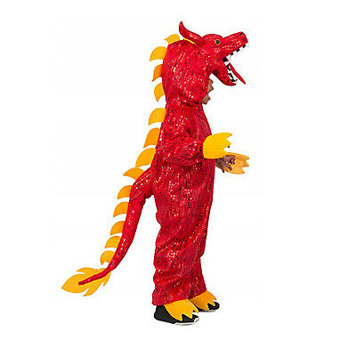 £26.65 • Buy Child Boy's Red New Year Fire Chinese Dragon Halloween Costume Jumpsuit Tail S