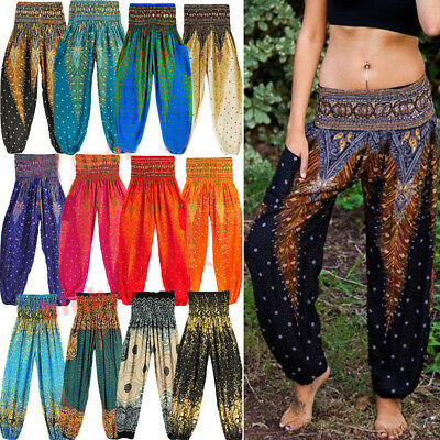 AU16.99 • Buy AU Women's Loose Bohemian Thai  Yoga Pants Harem Trousers Boho Hippy Baggy G46