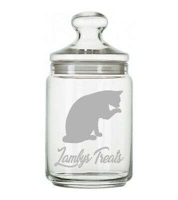 Personalised Cat Kitten Glass Storage Biscuit Treat Jar 1 Ltr Engraved Gift • 18.99£