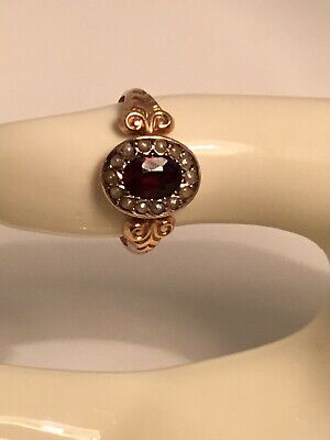 Early Victorian 9ct Rose Gold Garnet And Pearl Ring • 175£